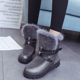 Shoespie Chic Round Toe Buckle Short Floss Snow Boots