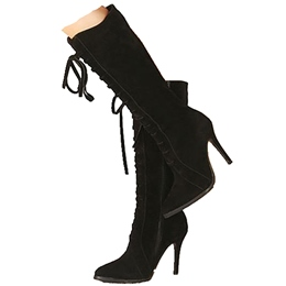Shoespie Plain Black Lace Up High Heel Knee High Boots