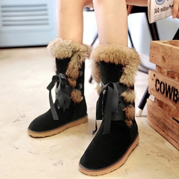 Shoespie Slouchy Round Toe Snow Furry Boots