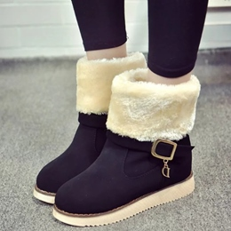 Shoespie Round Toe Furry Flat Heel Snow Boots
