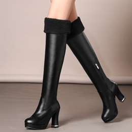 Shoespie Plain Round Toe Chunky Heel Knee High Boots