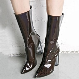 Shoespie Illusion Pointed Toe Chunky Heel Ankle Boots