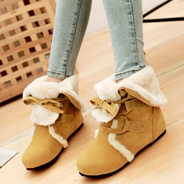 Shoespie Round Toe Ribbon Lace Up Snow Boots