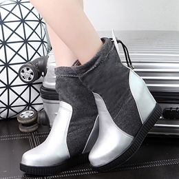 Shoespie Iridescent Color Block Patchwork Ankle Boots