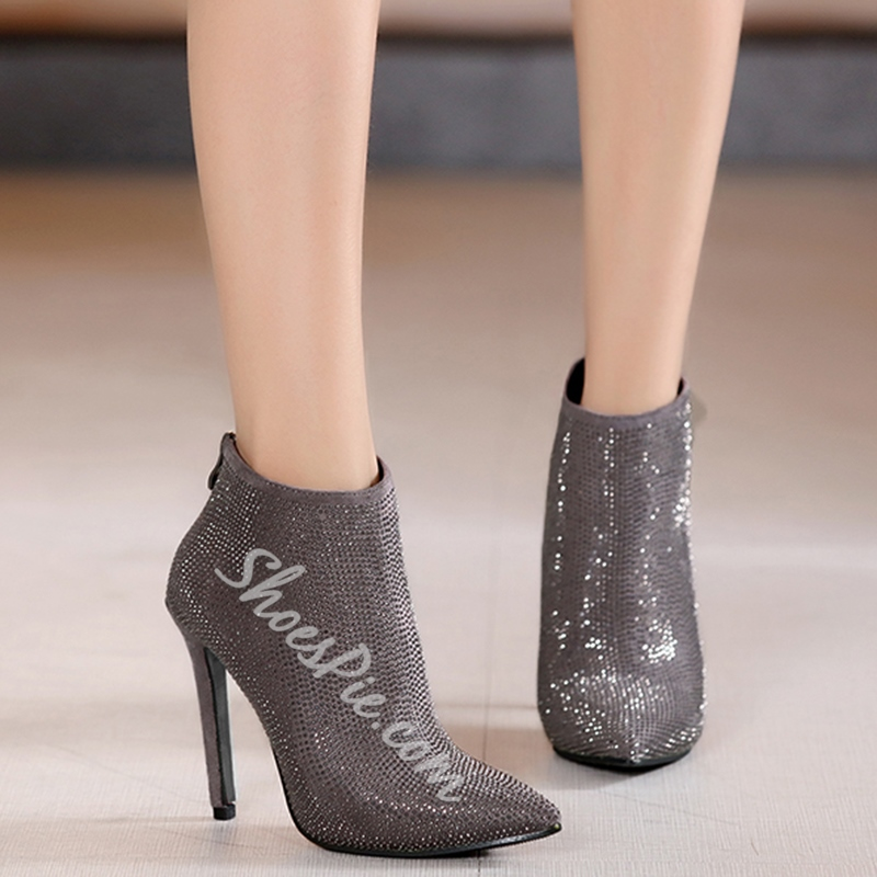 Shoespie All Rivets Pointed Toe Ankle Boots