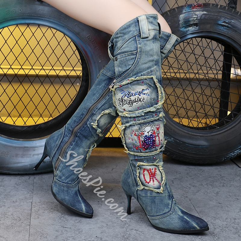 Stylish Denim Rhinestone Knee High Boots
