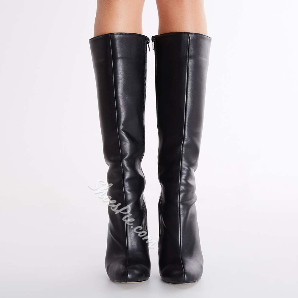 Sexy Black Stiletto Closed-toes Women Boots