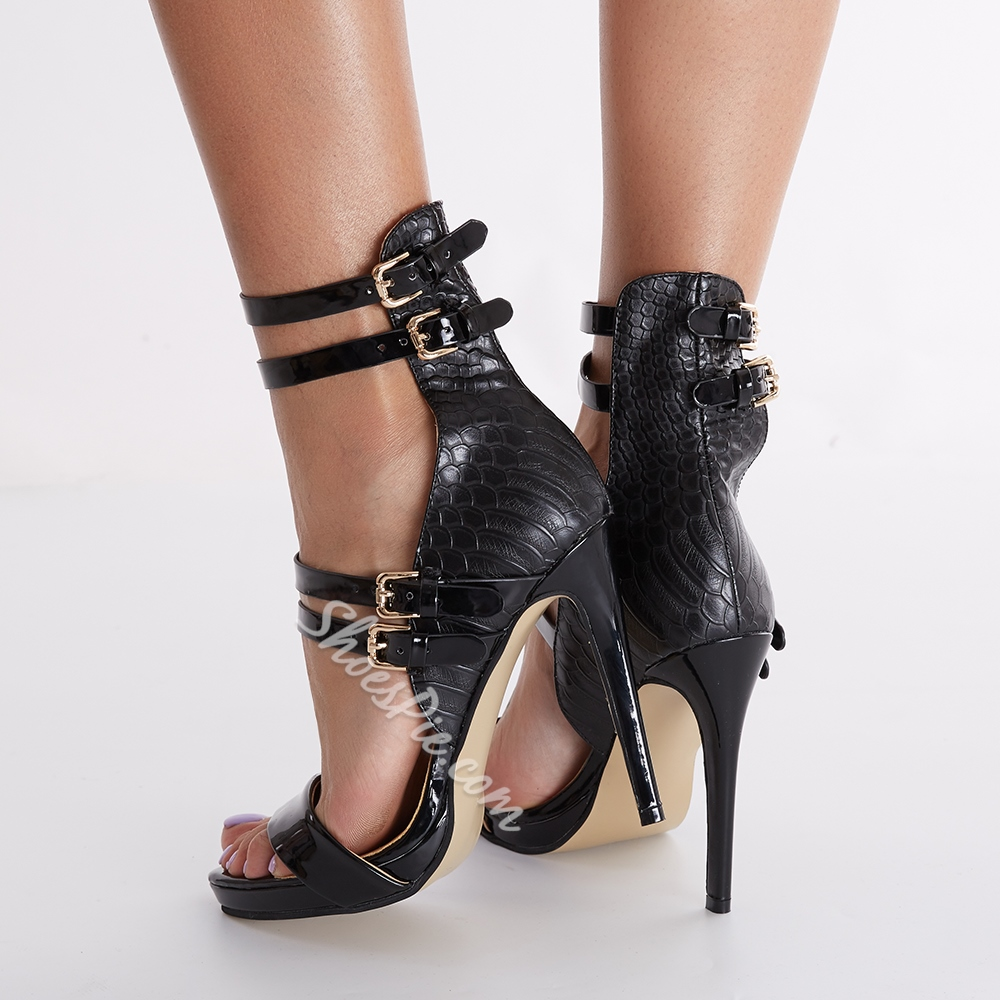 Shoespie Black Embossed Leather Strappy Sandals