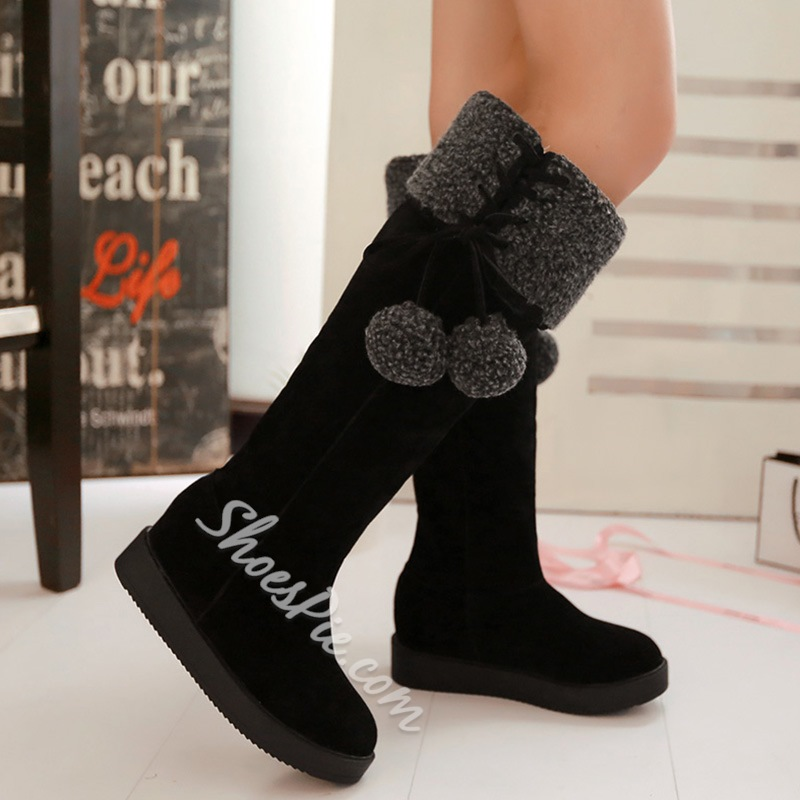 Shoespie Round Toe Pompom Accented Knee High Snow Boots