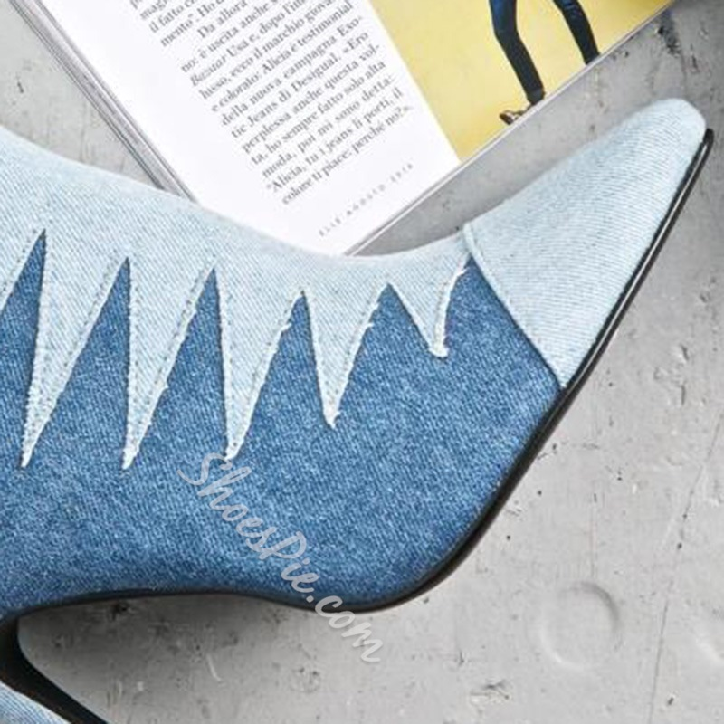Shoespie Denim Blue Contrast Color Pointed Toe Ankle Boots