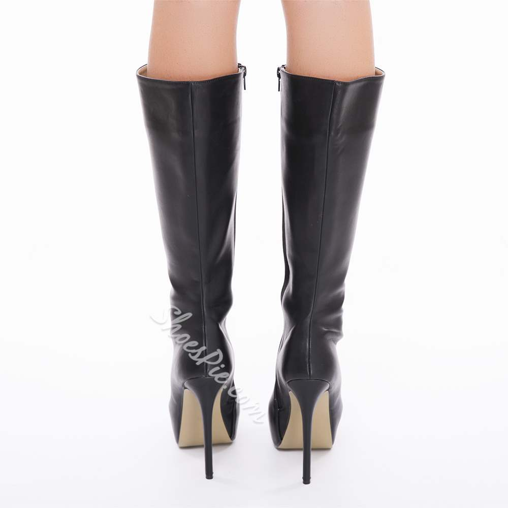 Shoespie Black PU Upper Stiletto Heels Knee High Boots