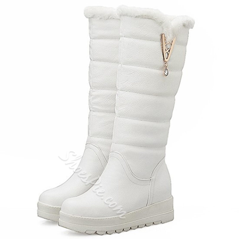 Shoespie Round Toe Qulited Snow Boots