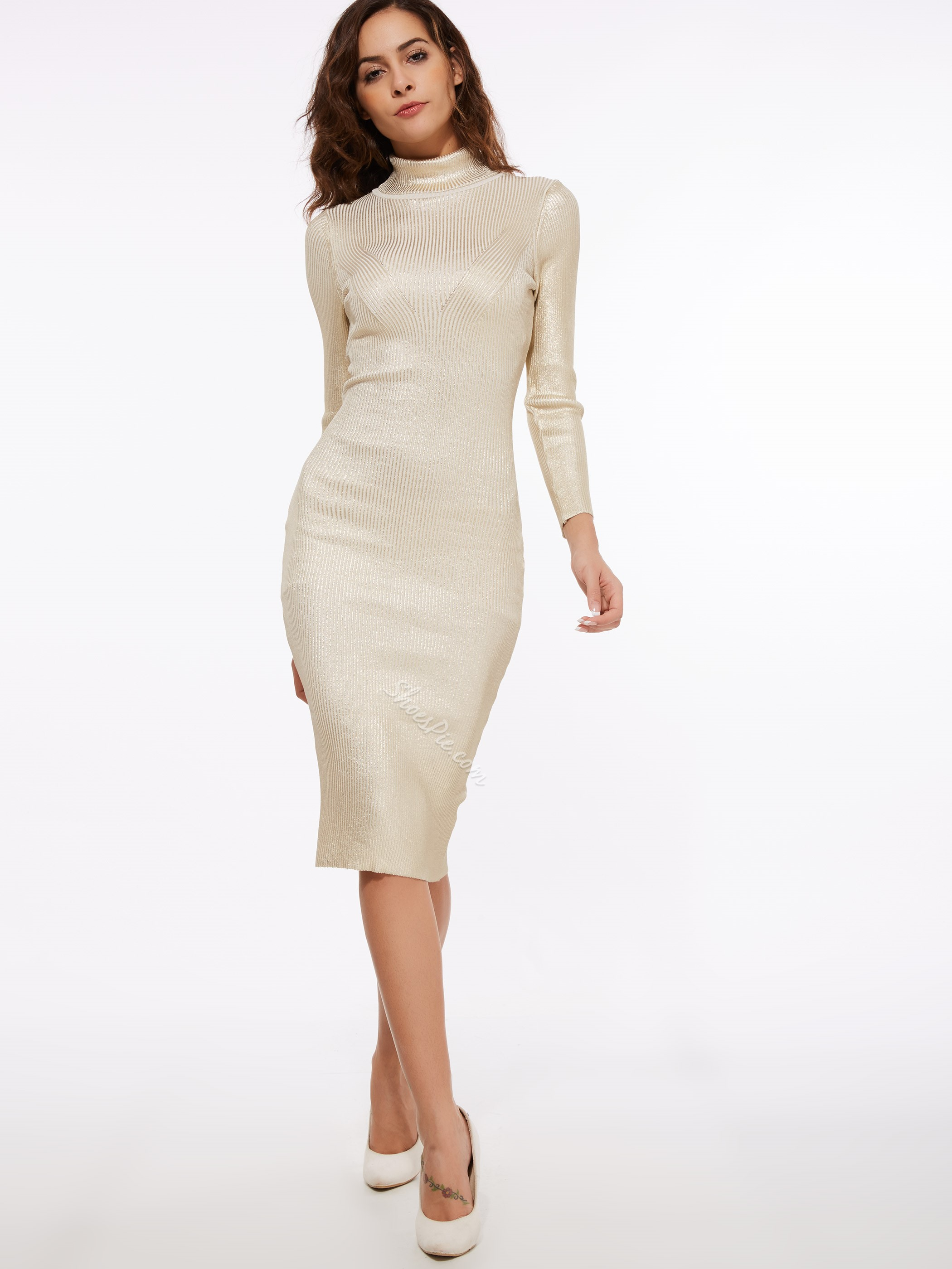 Mid-Calf Plain Turtleneck Sweater Dress