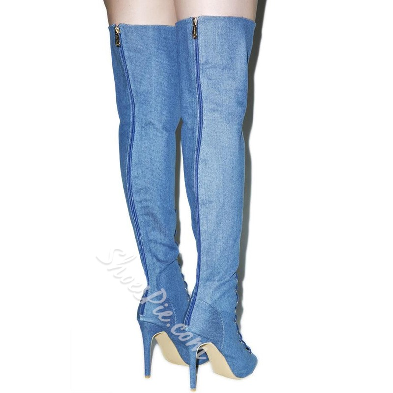 Shoespie Denim Blue Lace Up Thigh High Boots
