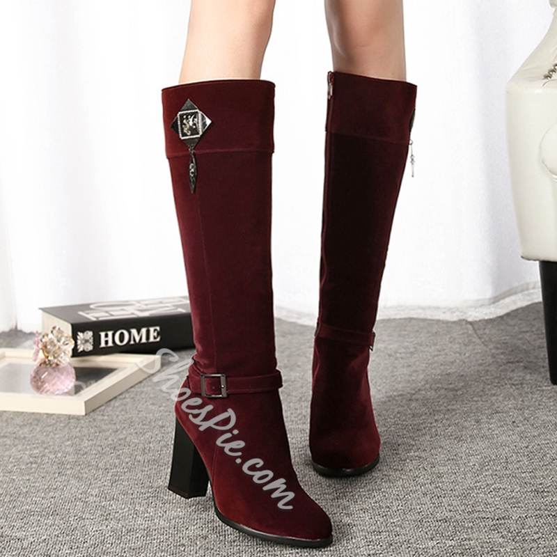 Shoespie Pointed Toe Chunky Heel Knee High Boots