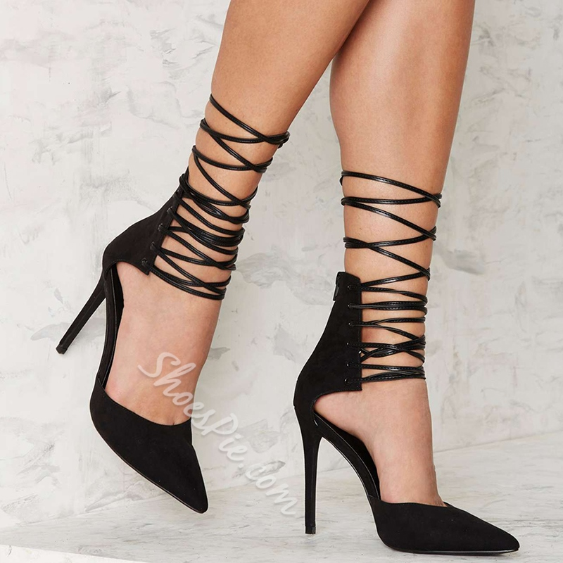 Shoespie Pointed Toe Zipper Lace-Up Stiletto Heels