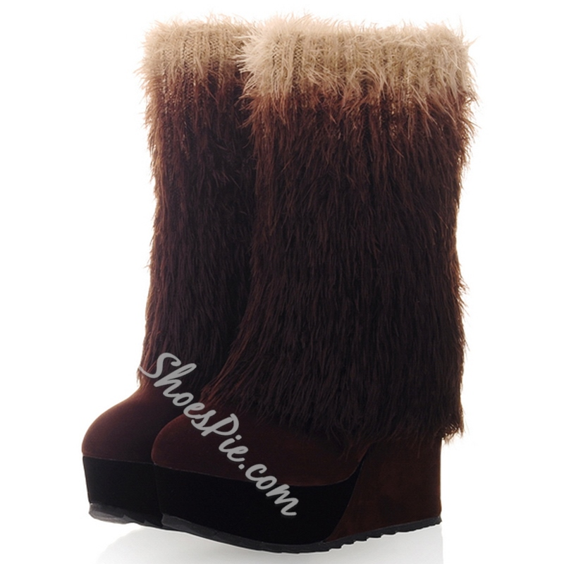 Shoespie Furry Round Toe Wedge Heel Ankle Boots