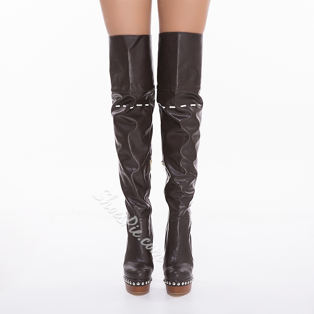 Shoespie Light Coffee Platform High Heel Thigh High Boots
