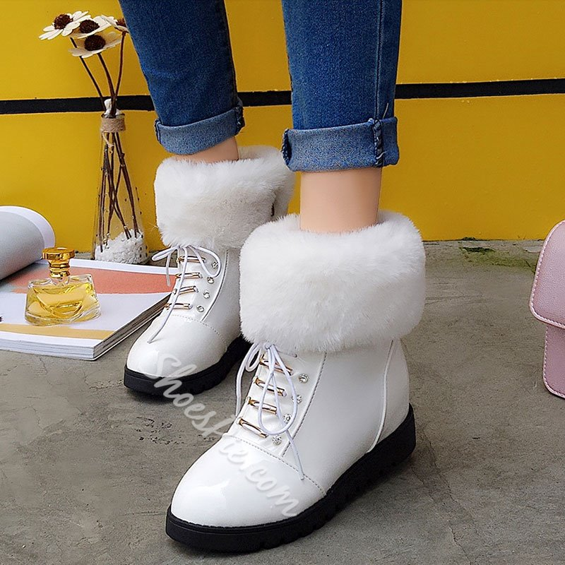 Shoespie Round Toe Shearling Furry Snow Boots