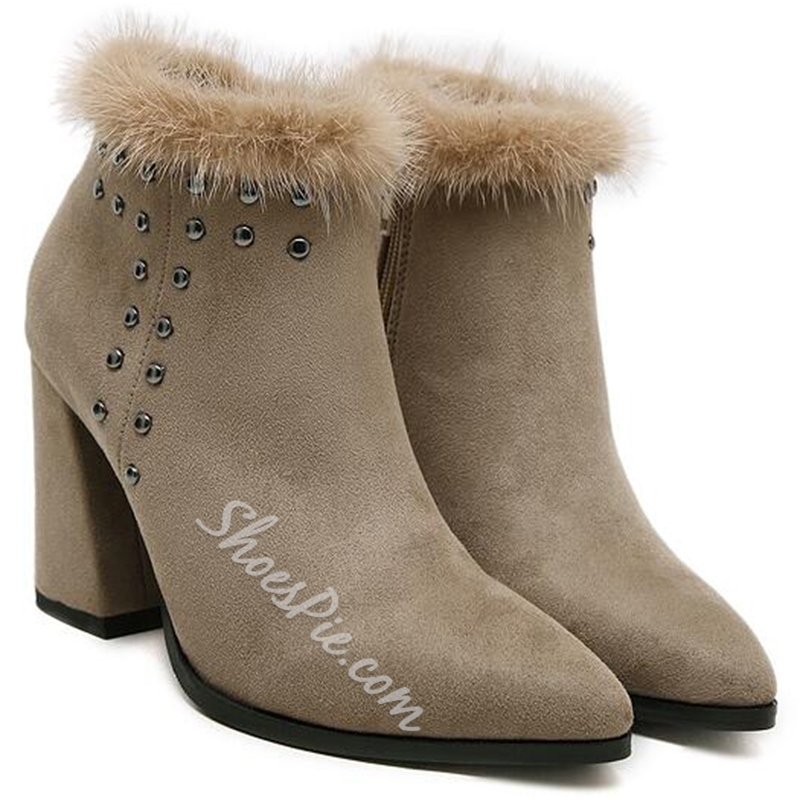 Shoespie Chic Suede Like Rivets Ankle Boots