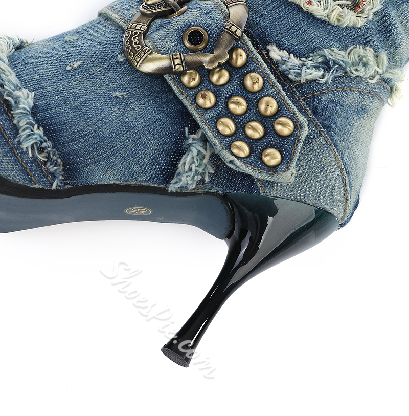 Shoespie Unmatched Print Denim Buckle Knee High Boots