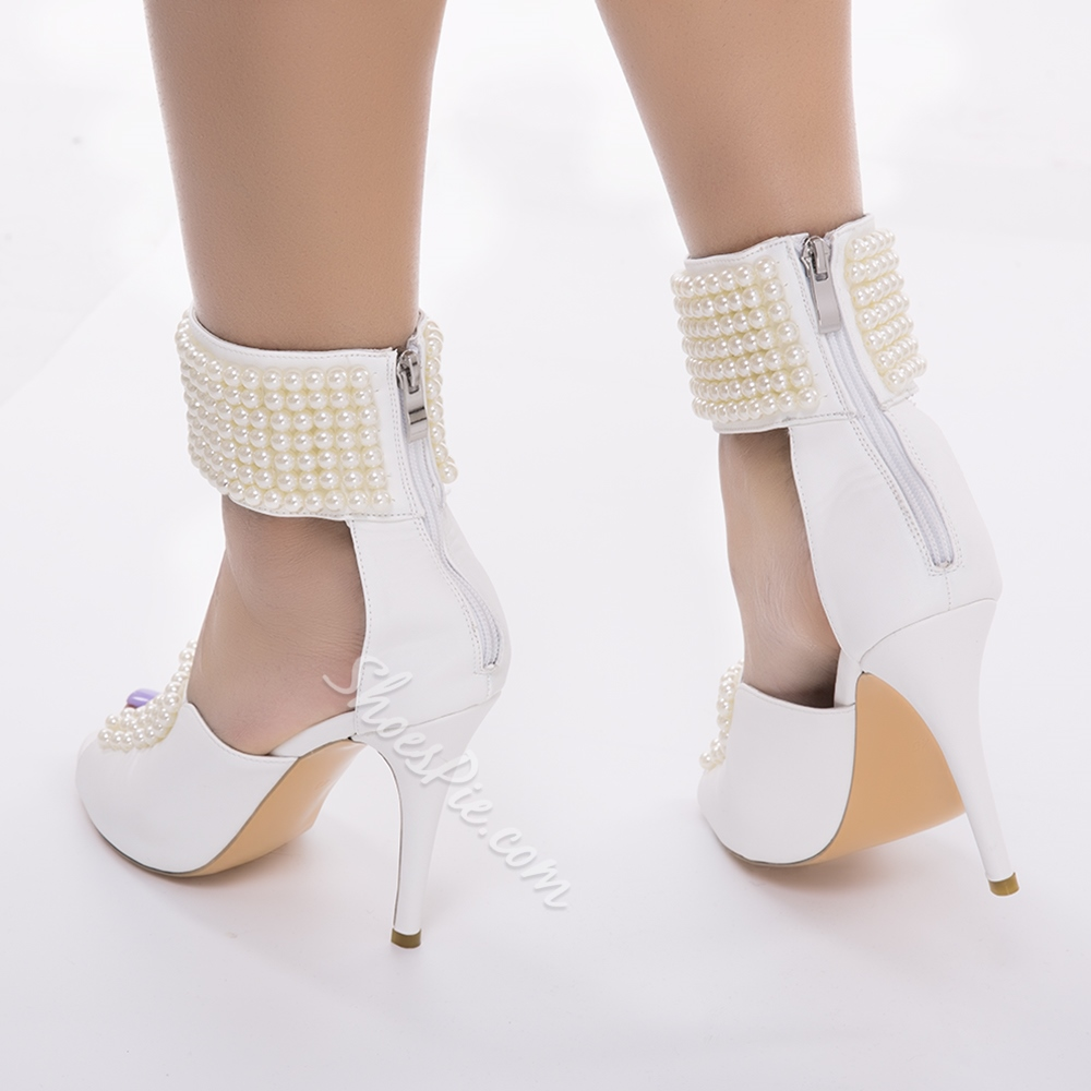 Sweet Beading Ankle Wrap Stiletto Sandals