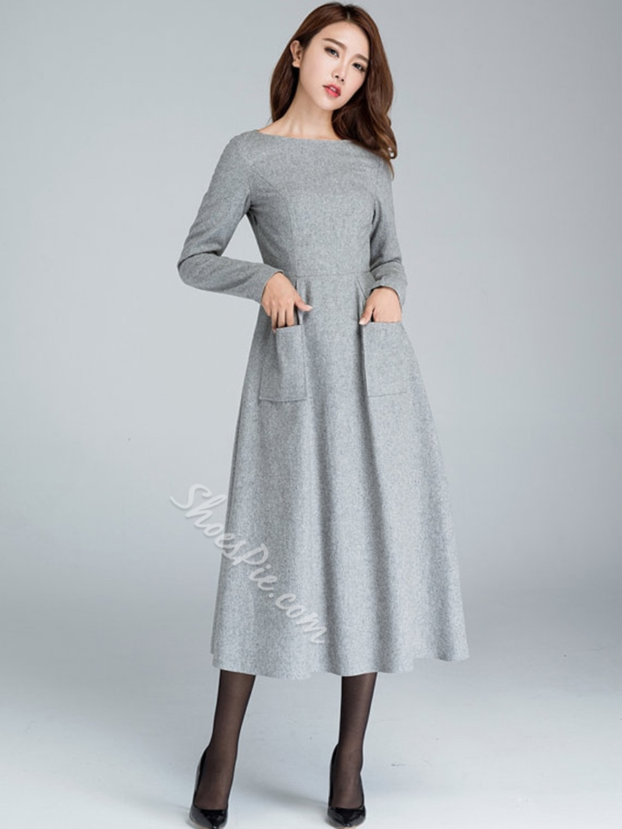 Boat Neck Maxi Dress With Two Pockets