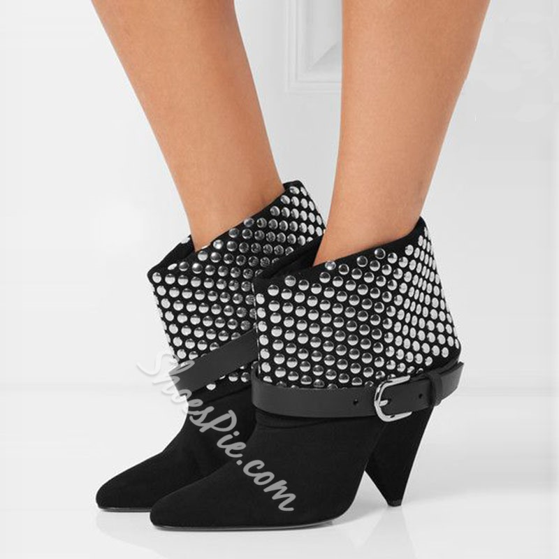 Shoespie Gorgeous Rivets Appliqued Triangle Heel Fashion Booties