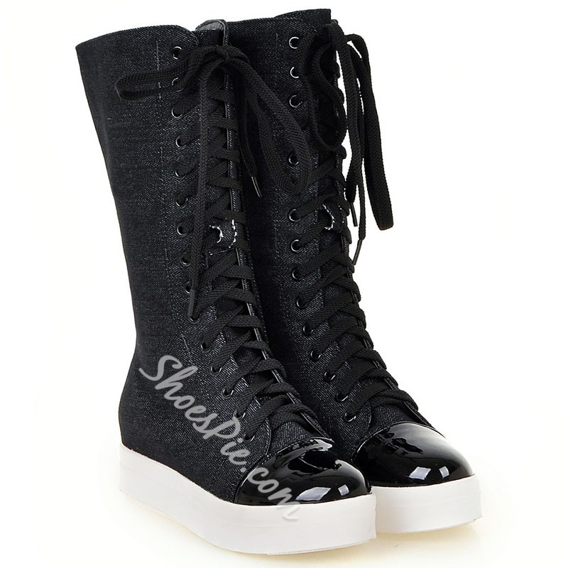 Shoespie Round Toe Canvas Lace Up Mid Calf Boots