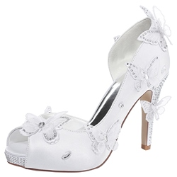 Shoespie White Floral Appliqued Peep Toe Bridal Shoes