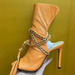 Shoespie Orange Scale Leather Ankle Wrap Sandals