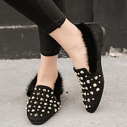 Shoespie Decent Rivets Fur Loafers
