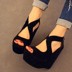 Shoespie Black Suede Wedge Sandals