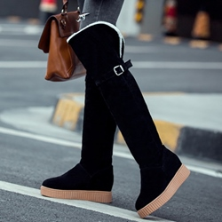 Shoespie Round Toe Flat Knee High Boots