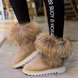 Shoespie Warm Lug Sole Fur Snow Boots