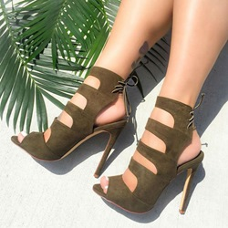 Shoespie Army Green Laser Cut Sandals