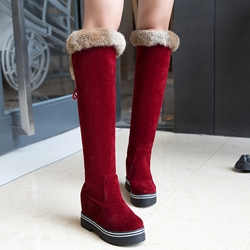 Shoespie Western Round Toe Hidden Elevator Heel Knee High Snow Boots