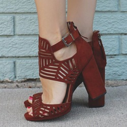 Shoespie Date Red Cut Out Sandal