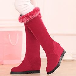 Shoespie Elegant Round Toe Wedge Heel Knee High Fur Boots