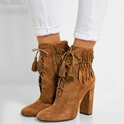 Shoespie Decent Brown Feather & Fringe Motorcycle Booties
