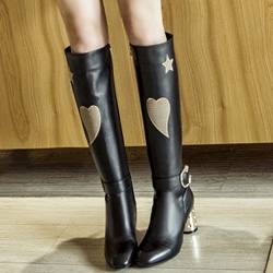 Shoespie Street Style Black Heart Low Heel Knee High Boots