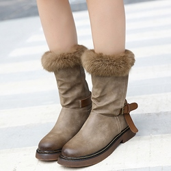 Shoespie Cute Round Toe Buckle Snow Boots