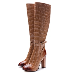 Shoespie Fabulous Embossed Leather Buckle Knee High Boots