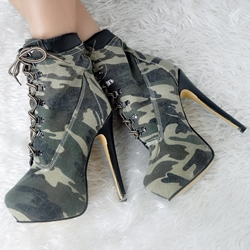 Shoespie Army Green Lace Up Motorcycle Ankle Boots