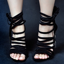 Shoespie Black Suede Strappy Sandals
