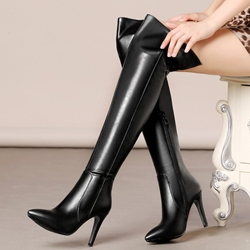Shoespie Decent Soft Leather Pointed Toe Thigh High Boots