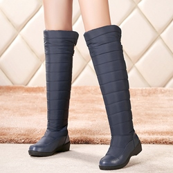 Shoespie Solid Color Round Toe Flat Knee High Boots
