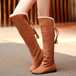 Shoespie Round Toe Back Tie Knee High Boots
