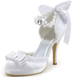 Shoespie White Satin Beaded Ankle Wrap Bridal Shoes