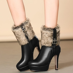 Shoespie Round Toe Buckle Stiletto Fur Ankle Boots